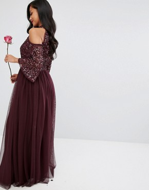 photo Cold Shoulder Maxi Dress in Tonal Delicate Sequin with Tulle Skirt and Kimono Sleeve by Maya Petite, color Berry - Image 2