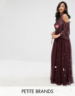 photo Cold Shoulder Maxi Dress in Tonal Delicate Sequin with Tulle Skirt and Kimono Sleeve by Maya Petite, color Berry - Image 1