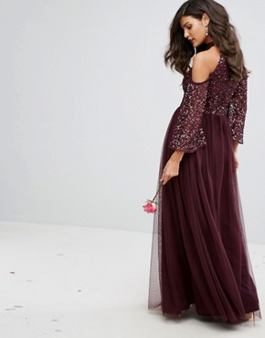 photo Cold Shoulder Maxi Dress in Tonal Delicate Sequin with Tulle Skirt and Kimono Sleeve by Maya, color Berry - Image 2