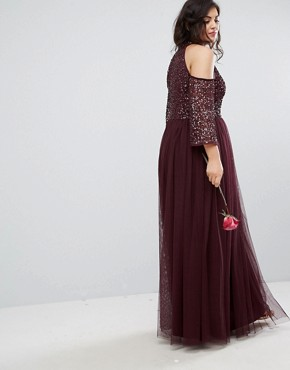 photo Cold Shoulder Maxi Dress in Tonal Delicate Sequin with Tulle Skirt and Kimono Sleeve by Maya Plus, color Berry - Image 2