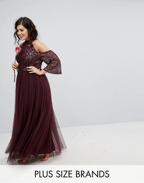 photo Cold Shoulder Maxi Dress in Tonal Delicate Sequin with Tulle Skirt and Kimono Sleeve by Maya Plus, color Berry - Image 1