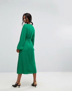 photo Wrap Dress with Tie Waist by Gestuz, color Jolly Green - Image 2