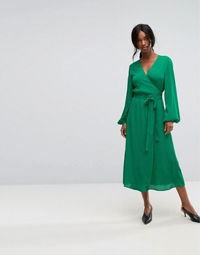 photo Wrap Dress with Tie Waist by Gestuz, color Jolly Green - Image 1