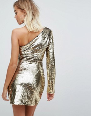 photo One Shoulder Dress in Gold Sequin by Fashion Union, color Gold Sequin - Image 2