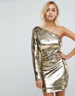 photo One Shoulder Dress in Gold Sequin by Fashion Union, color Gold Sequin - Image 1