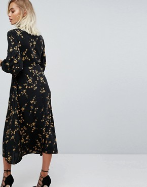 photo High Neck Midi Dress in Grunge Floral Print by Fashion Union, color Grunge Floral - Image 2