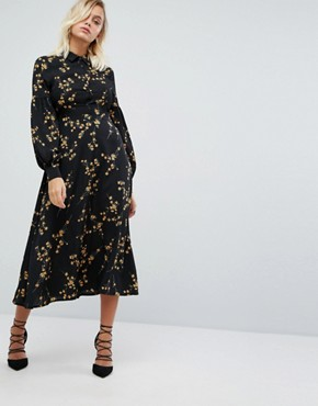 photo High Neck Midi Dress in Grunge Floral Print by Fashion Union, color Grunge Floral - Image 1