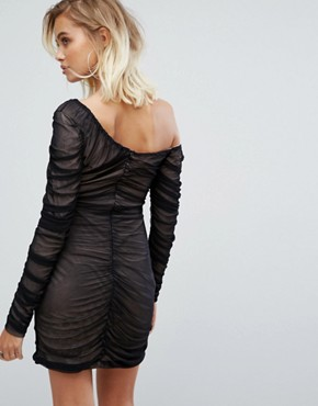 photo One Shoulder Dress with Sheer Mesh Ruching by Fashion Union, color Black - Image 2