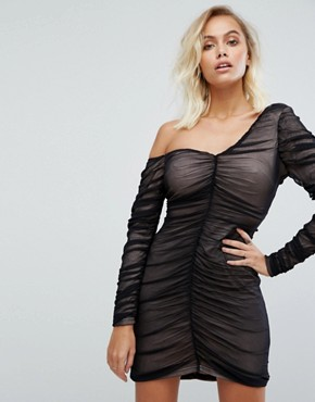 photo One Shoulder Dress with Sheer Mesh Ruching by Fashion Union, color Black - Image 1