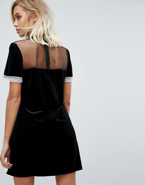 photo High Neck Dress with Victoriana Ruffle Detail by Fashion Union, color Black - Image 2
