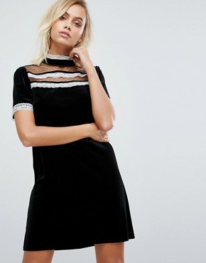 photo High Neck Dress with Victoriana Ruffle Detail by Fashion Union, color Black - Image 1