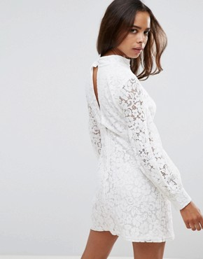 photo High Neck Dress with Lace Puff Sleeves by Fashion Union Petite, color Ivory - Image 2