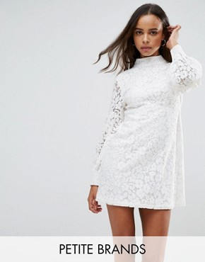 photo High Neck Dress with Lace Puff Sleeves by Fashion Union Petite, color Ivory - Image 1