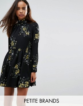 photo High Neck Neck Skater Dress in Bold Floral Bloom Print by Fashion Union Petite, color Floral - Image 1