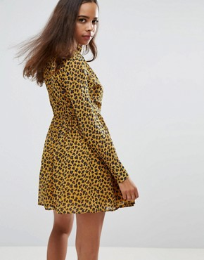 photo High Neck Neck Skater Dress in Leopard Print by Fashion Union Petite, color Yellow Animal - Image 2