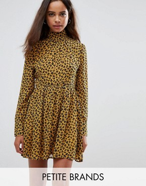 photo High Neck Neck Skater Dress in Leopard Print by Fashion Union Petite, color Yellow Animal - Image 1