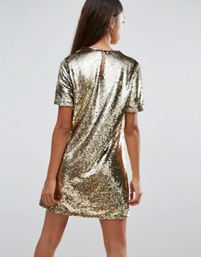 photo Shift Dress in Sequin by Fashion Union Petite, color Gold - Image 2