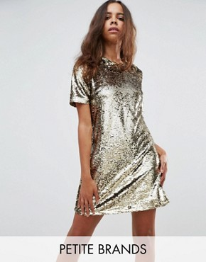 photo Shift Dress in Sequin by Fashion Union Petite, color Gold - Image 1