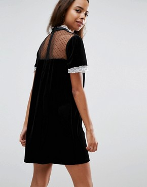 photo High Neck Dress with Victoriana Ruffle Detail by Fashion Union Petite, color Black - Image 2
