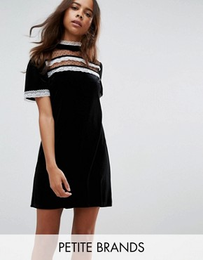 photo High Neck Dress with Victoriana Ruffle Detail by Fashion Union Petite, color Black - Image 1