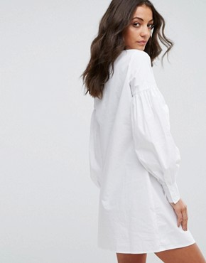 photo Shirt Dress with Ruffle Sleeve Detail by Fashion Union Tall, color White - Image 2