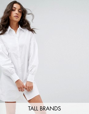 photo Shirt Dress with Ruffle Sleeve Detail by Fashion Union Tall, color White - Image 1