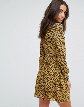 photo High Neck Neck Skater Dress in Leopard Print by Fashion Union Tall, color Yellow Animal - Image 2