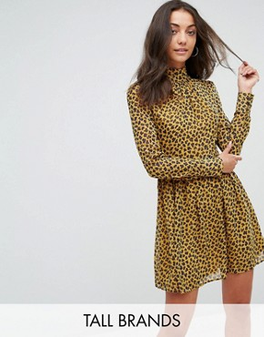 photo High Neck Neck Skater Dress in Leopard Print by Fashion Union Tall, color Yellow Animal - Image 1