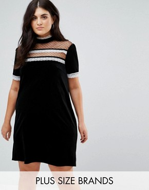 photo High Neck Dress with Victoriana Ruffle Detail by Fashion Union Plus, color Black - Image 1