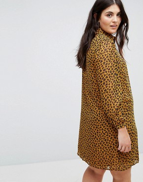 photo Shirt Dress in Leopard Print by Fashion Union Plus, color Yellow Leopard - Image 2