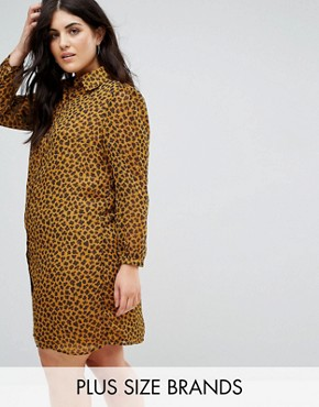 photo Shirt Dress in Leopard Print by Fashion Union Plus, color Yellow Leopard - Image 1