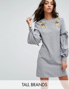 photo High Neck Dress with Floral Embroidery and Ruffle Sleeve by Fashion Union Tall, color Check - Image 1
