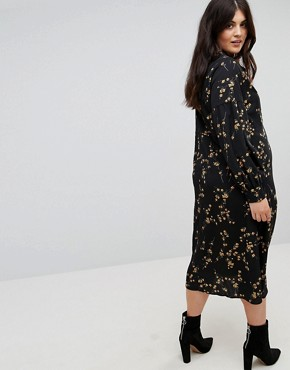 photo High Neck Midi Dress in Grunge Floral Print by Fashion Union Plus, color Grunge Floral - Image 2
