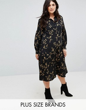 photo High Neck Midi Dress in Grunge Floral Print by Fashion Union Plus, color Grunge Floral - Image 1