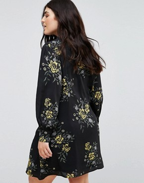 photo Puff Sleeve Dress with Neck Tie in Bold Floral Bloom Print by Fashion Union Plus, color Floral - Image 2