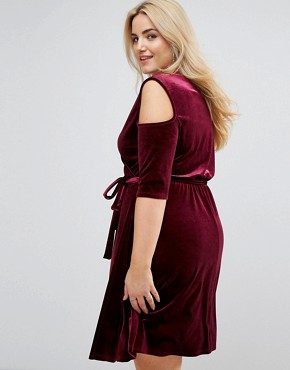 photo Cold Shoulder Wrap Mini Dress by Pink Clove, color Berry - Image 2