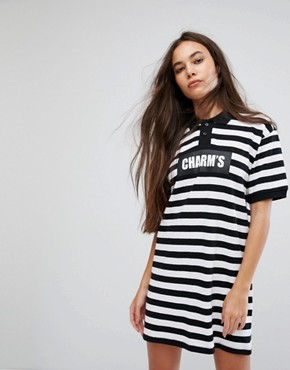 photo Polo T-Shirt Dress with Logo in Bold Stripe by Charms, color Black - Image 1