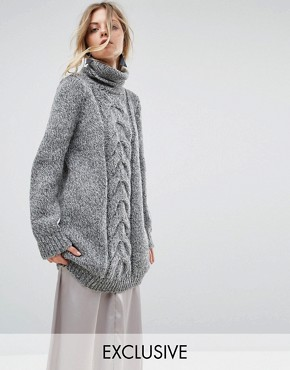 photo Hand Knitted High Neck Cable Dress by OneOn, color Grey - Image 1