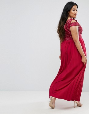 photo Cold Shoulder Maxi Dress with Pleated Skirt by Little Mistress Plus, color Burgundy - Image 2