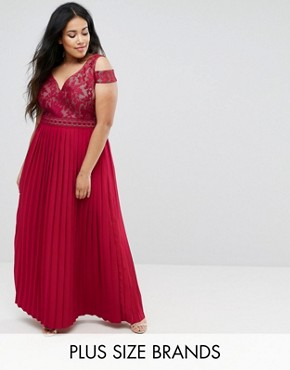 photo Cold Shoulder Maxi Dress with Pleated Skirt by Little Mistress Plus, color Burgundy - Image 1