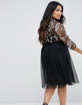 photo Skater Dress with Embroidered Bodice by Little Mistress Plus, color Black - Image 2