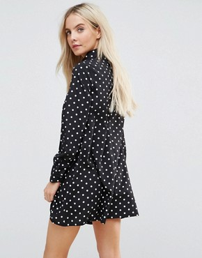 photo Long Sleeve Shirt Dress in Spot by Glamorous Petite, color Black Spot - Image 2