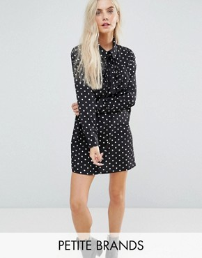 photo Long Sleeve Shirt Dress in Spot by Glamorous Petite, color Black Spot - Image 1