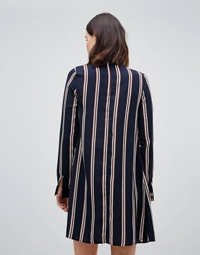 photo Long Sleeve Shirt Dress in Stripe by Glamorous Tall, color Navy Stripe - Image 2