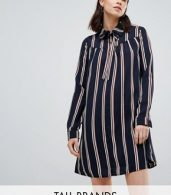 photo Long Sleeve Shirt Dress in Stripe by Glamorous Tall, color Navy Stripe - Image 1