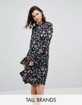 photo Shift Dress with Flare Cuffs in Antique Floral by Glamorous Tall, color Black Floral - Image 1