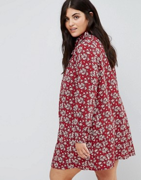 photo Long Sleeve Shirt Dress in Floral by Alice & You, color Burgundy - Image 2