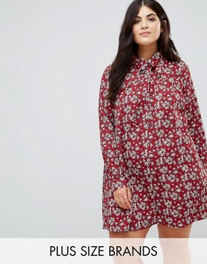 photo Long Sleeve Shirt Dress in Floral by Alice & You, color Burgundy - Image 1