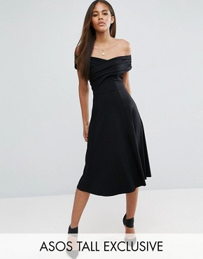 photo Midi Skater Dress with Bardot Neckline by ASOS TALL, color Black - Image 1