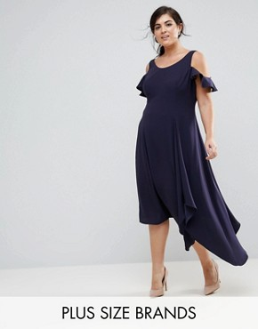 photo Cold Shoulder Soft Dress by Coast Plus, color Navy - Image 1